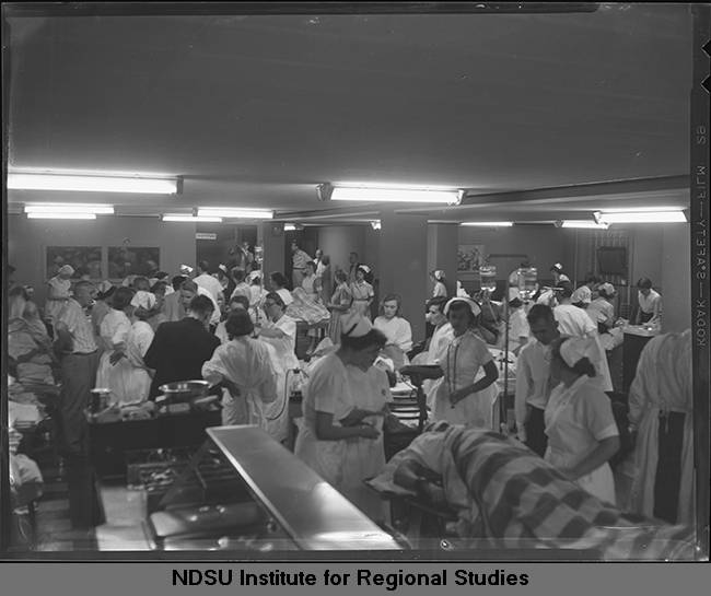 St. Luke\'s Hospital emergency room scene after 1957 tornado, Fargo ...