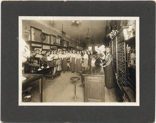 Interior of J  Roen & Company millinery store, Fargo, N D