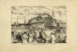 Sarnia: Icelanders leaving the railway station at Point Edward, for the steamer Ontario, on their...