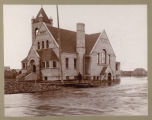 Congregational church during 1897 flood, Fargo, N.D.