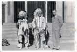 Dickinson State Teachers College President Harrison Pippin, with two Indian chiefs, Dickinson, N.D.