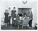Dickinson State Teachers College students at radio station, Dickinson, N.D.