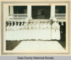 St. Luke's nurses lined up by front steps, Fargo, N.D.