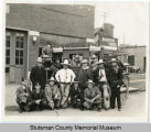 Jamestown and Fort Totten stage line coach with El Zagal men, Jamestown, N.D.