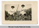 Ladies on a haystack, McLean County, N.D.