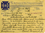 Baltimore & Ohio Telegraph Company Telegram