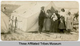 Family in front of tent, Fort Berthold Reservation, N.D.