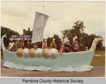 Early Icelandic exploration Viking ship parade float, Mountain, N.D.