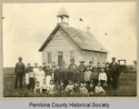 County schoolhouse and students, Walhalla, N.D.