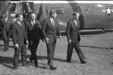 President John F. Kennedy exiting Marine One at Grand Forks Air Force Base