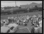 Little Leaguers awaiting a Great Northern train to Chicago, Rugby, N.D.