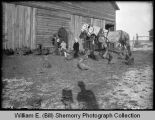 Man and children with horses and chickens outside house, Epping, N.D.