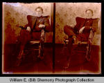 Man indoors in rocking chair, Epping, N.D.