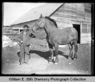 Man outside barn with horse, Northwest Williston, N.D.