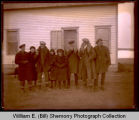 Group outside home, Williston, N.D.