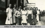 Women outside Cliff's Cafe, Grenora, N.D.