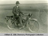 Emil Hanson on Motorcycle, Squires, N.D.
