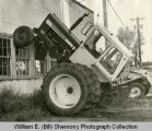 Tractor Climbs Wall, Williston, N.D.