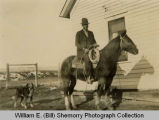 Bert Lee on horseback, Williston, N.D.