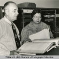 Peter J. Erickson and Ida Grogan in new Courthouse Office, Williston, N.D.