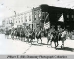 Ward Co. Sheriff's Posse horse riders, likely at Williston 75th Anniversary celebration
