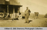 "William O. ""Big Bill"" (""Dad"") Hollar outside home, Williston, N.D."