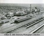 Great Northern Railway yards with arrow pointing to the Silver Grille Cafe aerial photograph,...