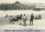 Snowmobile race finish line, Williston, N.D.