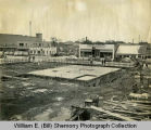 Construction of the Plainsman Hotel, looking west on Main and 4th Street E, Williston, N.D.