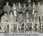 Williston Coyotes basketball team with Class A First Place Trophy portrait