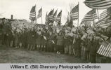 Children greet soldiers, Williston, N.D.
