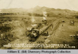 Wild Cow Railroad, steam shovel near Erickson's Camp on Little Missouri River, building the first railroad