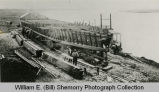 Wild Cow Railroad, Montana tugboat construction, Williston shipyard on bank of Missouri,...