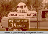"Williston's 25th Anniversary of Oil Discovery Celebration, Charles ""Doodle"" Barton for sheriff float,"