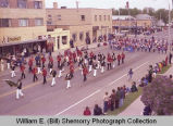 Band Day parade 1981, Wildrose Roses and Alamo Greenwave bands, Williston, N.D.