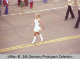 Band Day parade 1981, Buffalo Trails Band majorette, Williston, N.D.