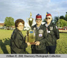 Williston American Legion Drum & Bugle Corps. with trophy, Williston, N.D.