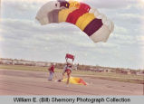 Sloulin Field International Airport rededication and air show, parachutist, N.D.
