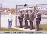 Sloulin Field International Airport rededication and air show, Jack E. Daniels with Air Force personnel,