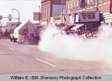 Band Day parade 1984, exhaust from float, Williston, N.D.