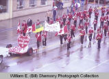 Band Day parade 1982, Williston Chamber of Commerce float and Wadena High School marching band, Williston,