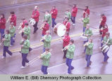 Band Day parade 1982, Wildrose Roses and Alamo Greenwave bands, Williston, N.D.