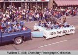 Band Day parade 1983, Sea Lions float, Williston, N.D.