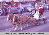 Williston Christmas parade 1983, Santa Claus on sleigh, N.D.