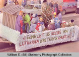 Williston Christmas parade 1983, Lutheran Brethren Church float, N.D.