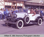 Tioga Farm Festival 1983, men in old-time automobile, N.D.