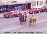 Upper Missouri Valley Fair 1983, flag bearers on horseback, Williston, N.D.