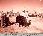 Tioga Farm Festival 1961, young man showing bull, Tioga, N.D.