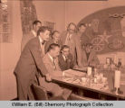 Williston Oil discovery day celebraton, men in restaurant, N.D.