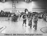 Clown band performance, halftime, Williston High School basketball game, Williston, N.D.